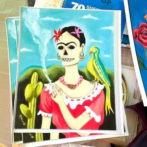 Print Frida Kahlo with Bird dotd Skull MeloEarth